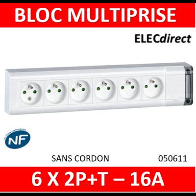 Legrand - Bloc multiprise fixable 6 prises de courant 2P+T longueur 343mm - à cabler - 050611
