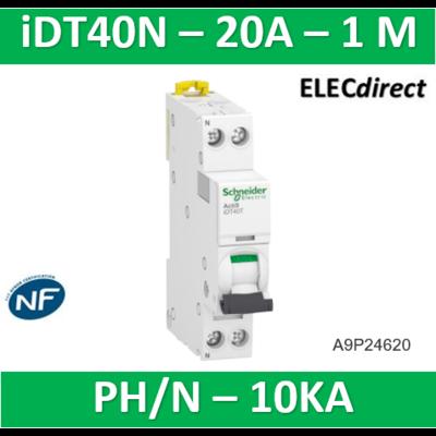 Schneider Acti9 iDT40N - disjoncteur modulaire - 1P+N C 20A 6000A/10kA A9P24620