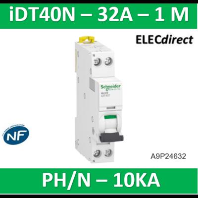 Schneider Acti9 iDT40N - disjoncteur modulaire - 1P+N C 32A 6000A/10kA A9P24632
