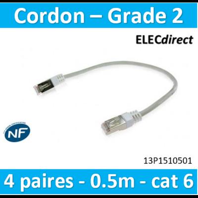 Cahors - Cordon grade 2 - 4 paires RJ45/RJ45 - cat 6 - l. 0,5m blanc - 13P1510501