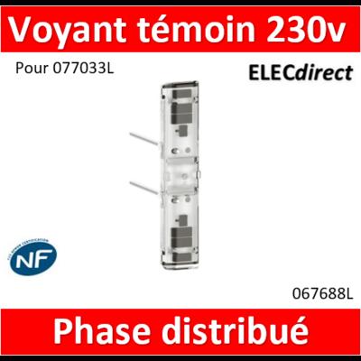 Legrand - Voyant témoin 230V phase distribuée Mosaic Easy-Led brochable à LEDs blanches - socle rouge 067688L