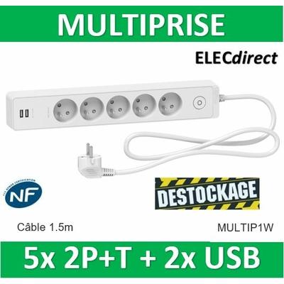 SCHNEIDER MULTIPRISE 5 PRISES 2P+T + 2 PRISES USB 2.4A - CABLE 1.5M - MULTIP1W