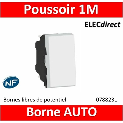 Legrand Poussoir témoin 6A 250V~ Mosaic 1 module - blanc 077033L