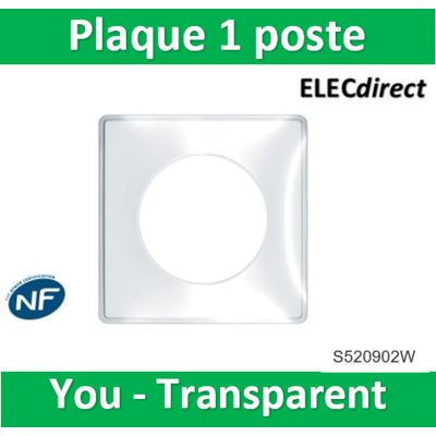 Schneider - Odace You Transparent, plaque de finition support Blanc 1 poste - S520902W