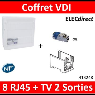 Legrand - Coffret VDI GRADE 2 avec brassage STP - 8 RJ45 / TV 2 sorties - 413248+413183x4+413180