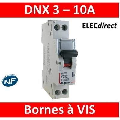 DISJONCTEUR LEGRAND DNX3 PH/N - 10A - VIS/VIS - 406773