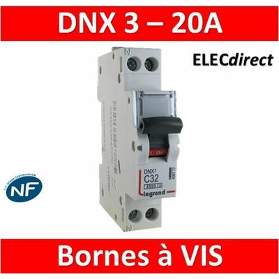 DISJONCTEUR LEGRAND DNX3 PH/N - 20A - VIS/VIS - 406775