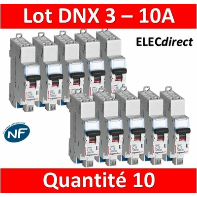 LEGRAND - LOT DE 10 DISJONCTEURS AUTO DNX3 10A - 406782