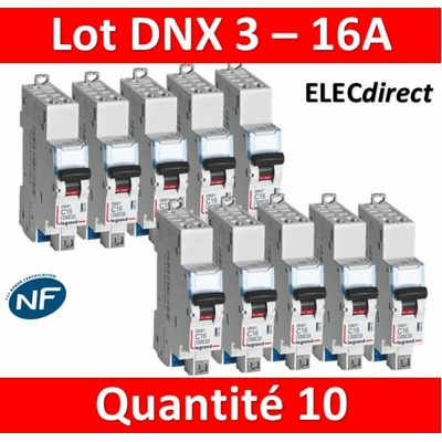 LEGRAND - LOT DE 10 DISJONCTEURS AUTO DNX3 16A - 406783