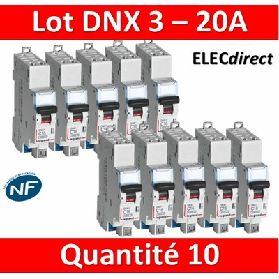 LEGRAND - LOT DE 10 DISJONCTEURS AUTO DNX3 20A - 406784