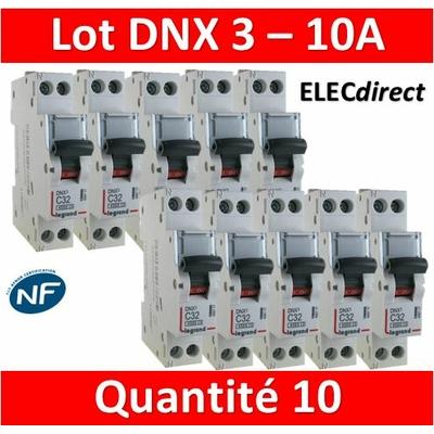 LEGRAND - LOT DE 10 DISJONCTEURS DNX3 10A - VIS/VIS - 406773