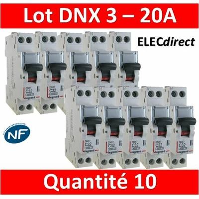 LEGRAND - LOT DE 10 DISJONCTEURS DNX3 20A - VIS/VIS - 406775