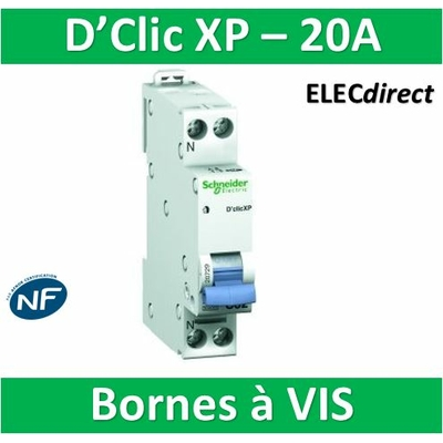 SCHNEIDER DISJONCTEUR DUOLINE D'CLIC XP - 20A - VIS/VIS - 20727