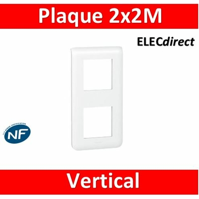 Legrand Mosaic - Plaque 2 x 2 modules - 2 postes (4M) - vertical - 078822
