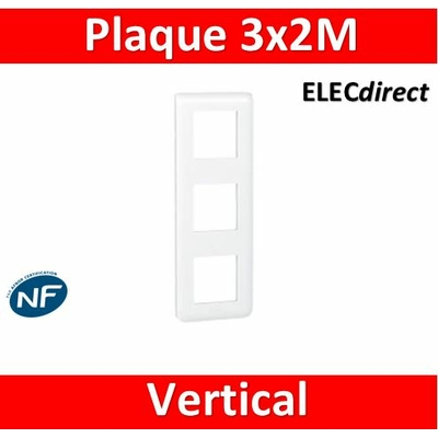 Legrand Mosaic - Plaque 3 x 2 modules - 3 postes (6M) - vertical - 078823