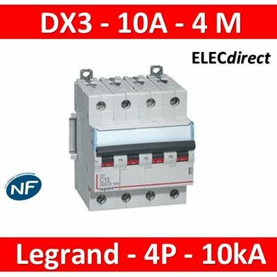 Legrand - Disjoncteur 4P DX3 10A - 10kA - courbe C - 407896