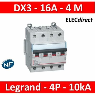 Legrand - Disjoncteur 4P DX3 16A - 10kA - courbe C - 407898