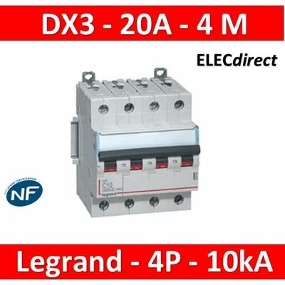 Legrand - Disjoncteur 4P DX3  20A - 10kA - courbe C - 407899