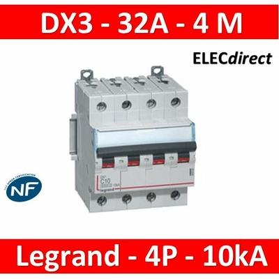 Legrand - Disjoncteur 4P DX3 32A - 10kA - courbe C - 407901