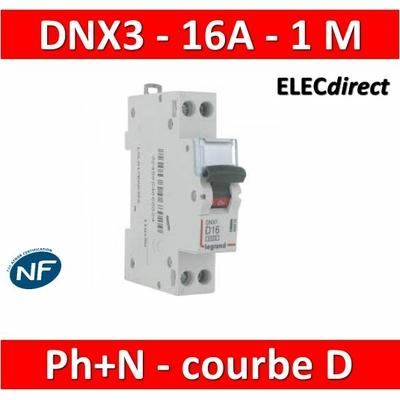 Legrand - Disjoncteur courbe D - DNX3 - 16A - Ph+N - 1M - 406802