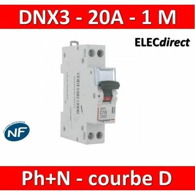 Legrand - Disjoncteur courbe D - DNX3 - 20A - Ph+N - 1M - 406803