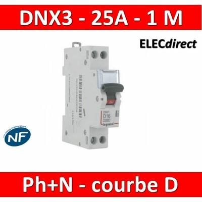 Legrand - Disjoncteur courbe D - DNX3 - 25A - Ph+N - 1M - 406804