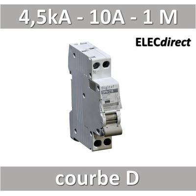 Disjoncteur phase neutre 10A / 4,5 kA / courbe D