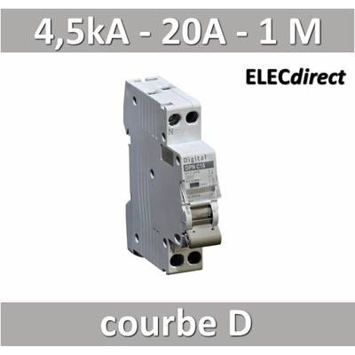 Disjoncteur phase neutre 20A / 4,5 kA / courbe D