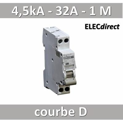 Disjoncteur phase neutre 32A / 4,5 kA / courbe D