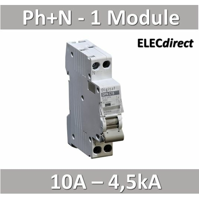 Disjoncteur phase neutre 10A / 4,5 kA / courbe C