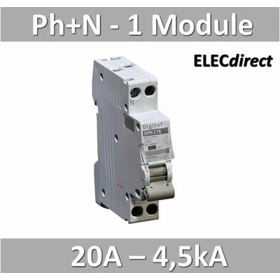 Disjoncteur phase neutre 20A / 4,5 kA / courbe C