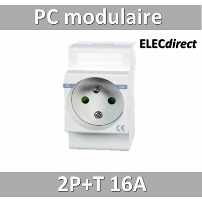 Digital Electric - Prise modulaite 2P+T 16A 250V à éclips - 04562
