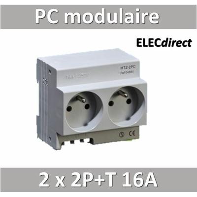 Digital Electric - Prise modulaire double 2 x 2P+T 16A 250V  à éclips - 04564