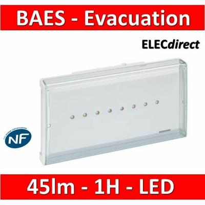 Legrand - BAES d'évacuation ECO1 standard à LEDs 45lm-1h plastique IP43-IK07 SATI Autodiag - 062525