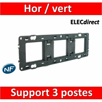 Legrand - Support 3 postes (6M) - Mosaic/Céliane - Fixation VIS - 3 x 2 modules - 080253