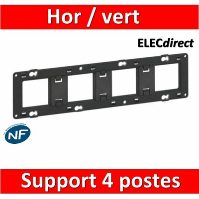Legrand - Support quadruple 4 postes - Mosaic/Céliane - Fixation VIS - 080254