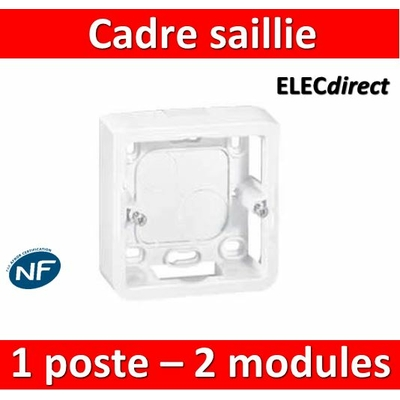 Legrand Mosaic - Cadre saillie 1 poste - prof 40 - 2 modules - 080281