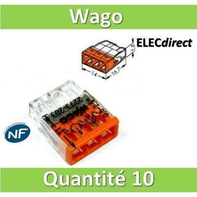 WAGO - Boîte de 10 Bornes auto fils rigide 3 x 2,5mm2 - WAG 2273-203