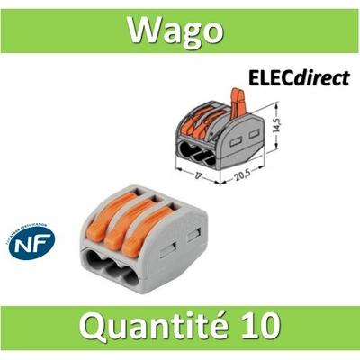 WAGO - Boîte de 10 Bornes auto fils Souple / Rigide 3 x (0.08 à 4mm2) - WAG 222-413