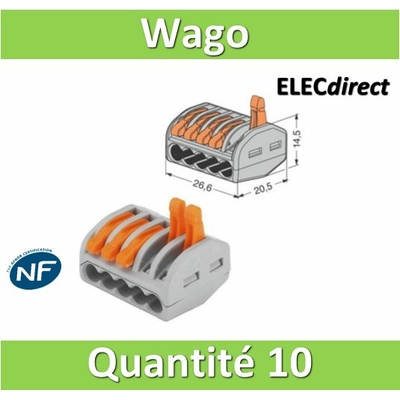 WAGO - Boîte de 10 Bornes auto fils Souple / Rigide 5 x (0.08 à 4mm2) - WAG 222-415