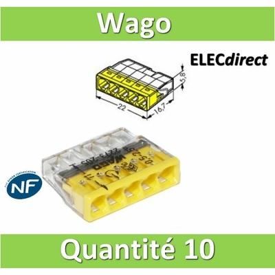WAGO - Boîte de 10 Bornes auto fils rigide 5 x 2,5mm2 - WAG 2273-205