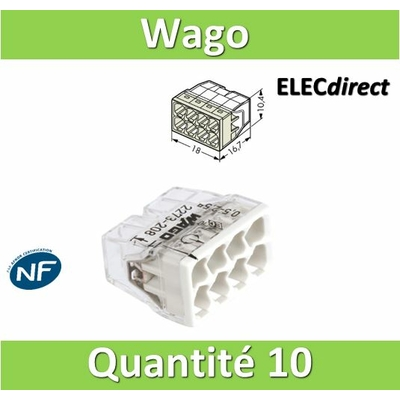 WAGO - Boîte de 10 Bornes auto fils rigide 8 x 2,5mm2 - WAG 2273-208