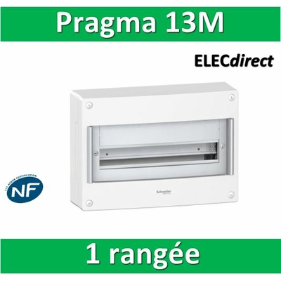 Schneider - Coffret électrique PRAGMA 13 modules - 1 rangée de 13M - PRA13651