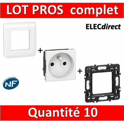 Legrand Mosaic - LOT PROS - PC 2P + T 16A complet - blanc 1 poste x10