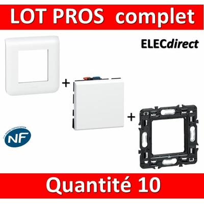 Legrand Mosaic - LOT PROS -  Va et vient complet - blanc 1 poste x10
