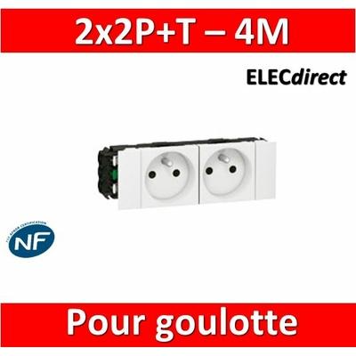 Legrand - Prise prog. Mosaic pour goulotte 2x2P+T - 4M - 077102