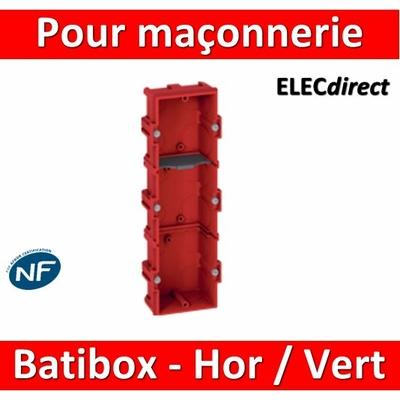 Legrand Batibox - Boîte à sceller 3 postes Hor/vert - 080143