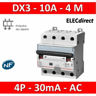 LEGRAND - Disjoncteur Différentiel  DX3  4P - 10A - 30MA - AC - 411185