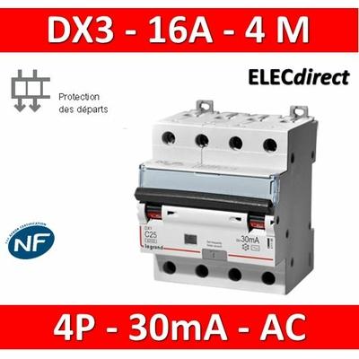 LEGRAND - Disjoncteur Différentiel  DX3  4P - 16A - 30MA - AC - 411186