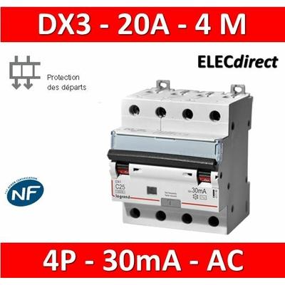 LEGRAND - Disjoncteur Différentiel  DX3  4P - 20A - 30MA - AC - 411187